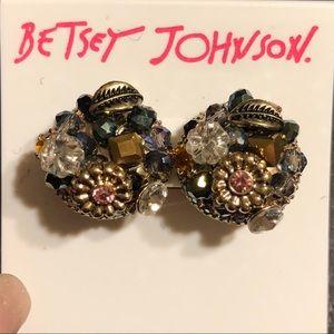 Betsey Johnson Crystal Flower Stud Earrings